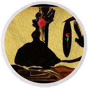 Round Beach Towel featuring the digital art Mia Mia The Little Dancer by Sherri Of Palm Springs