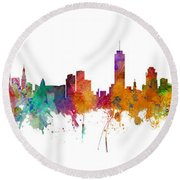 Miami And Nashville Skylines Mashup Round Beach Towel