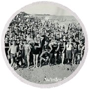 Miami Beach Sunbathers 1921 Round Beach Towel by Jon Neidert