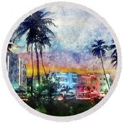 Miami Beach Watercolor Round Beach Towel by Jon Neidert