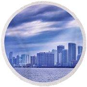 Miami Blues Round Beach Towel by Iryna Goodall