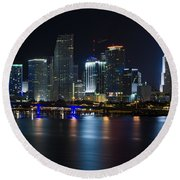 Miami Downtown Skyline Round Beach Towel by Raul Rodriguez