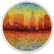 Miami Skyline 5 Round Beach Towel