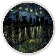Miami Skyline 9 Round Beach Towel