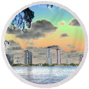 Miami Skyline Abstract Round Beach Towel
