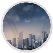 Miami Skyline Round Beach Towel