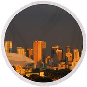 Miami Skyline At Sunset Round Beach Towel by Christiane Schulze Art And Photography