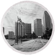 Miami Skyline Round Beach Towel by George Martinez