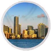 Miami Skyline In Morning Daytime Panorama Round Beach Towel