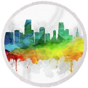 Miami Skyline Mmr-usflmi05 Round Beach Towel by Aged Pixel