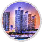 Round Beach Towel featuring the photograph Miami Skyline Sunrise by Shelley Neff