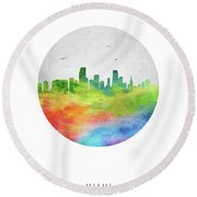 Miami Skyline Usflmi20 Round Beach Towel by Aged Pixel