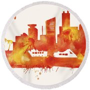 Miami Skyline Watercolor Poster - Cityscape Painting Artwork Round Beach Towel by Beautify My Walls