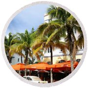 Miami South Beach Ocean Drive 8 Round Beach Towel by Nina Prommer