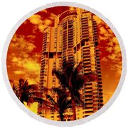 Miami South Pointe IIi Highrise Round Beach Towel