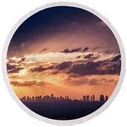 Miami Sunset Pano Round Beach Towel