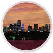 Miami Sunset Panorama Round Beach Towel