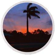 Miami Sunset Round Beach Towel