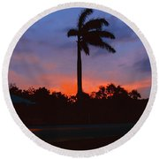 Miami Sunset Round Beach Towel