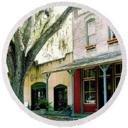 Micanopy Storefronts Round Beach Towel