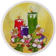 Mice With Candles Round Beach Towel