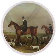 Michael Beverley With His Whipper In And Harriers Round Beach Towel