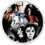 Michael Jackson - King Of Pop Round Beach Towel by Lin Petershagen