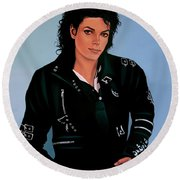 Michael Jackson Bad Round Beach Towel