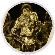 Michael Jackson Gold Round Beach Towel