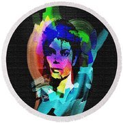 Michael Jackson Round Beach Towel by Mo T