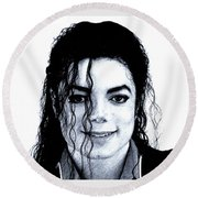 Round Beach Towel featuring the drawing Michael Jackson Pencil Drawing  by Movie Poster Prints