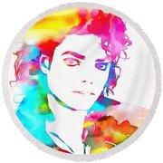 Michael Jackson Watercolor Round Beach Towel