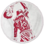 Michael Jordan Chicago Bulls Pixel Art 1 Round Beach Towel