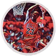 Round Beach Towel featuring the painting Michael Jordan Slam Dunk by Dan Sproul