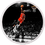 Michael Jordan Suspended In Air Round Beach Towel by Brian Reaves