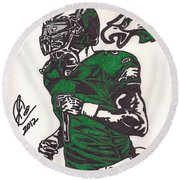 Round Beach Towel featuring the drawing Micheal Vick by Jeremiah Colley