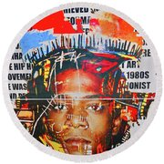 Michel Basquiat Round Beach Towel