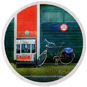 Round Beach Towel featuring the photograph Michel De Hey Bicycle by Craig J Satterlee