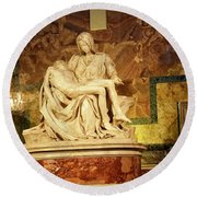 Michelangelo Masterpiece Of A Mother's Love Round Beach Towel