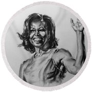 Round Beach Towel featuring the painting  Michelle Obama  by Darryl Matthews