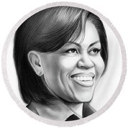 Michelle Obama Round Beach Towel by Greg Joens