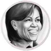 Michelle Obama Round Beach Towel by Greg Joens