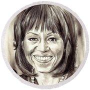 Michelle Obama Watercolor Portrait Round Beach Towel