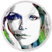 Michelle Pfeiffer Round Beach Towel by Mihaela Pater