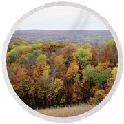 Michigan Autumn Round Beach Towel