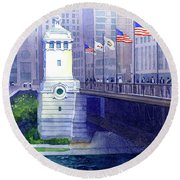 Michigan Avenue Bridge Round Beach Towel