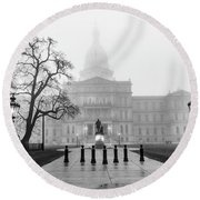 Michigan Capitol Foggy Morning 2 Round Beach Towel
