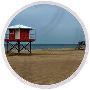 Michigan City Lifeguard Station Round Beach Towel