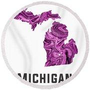 Michigan Map Art Abstract In Purple Round Beach Towel