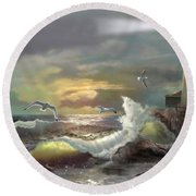Michigan Seul Choix Point Lighthouse With An Angry Sea Round Beach Towel